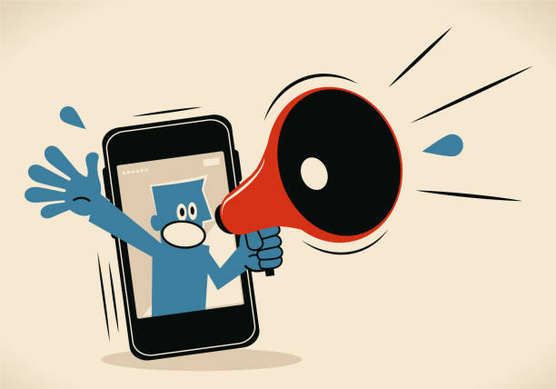 Blue man from smart phone shouting with megaphone vector art illustration