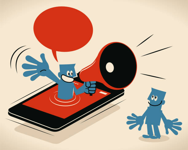 Blue man from smart phone speaking with megaphone to an audience, online promotion Blue Little Guy Characters Vector art illustration.Copy Space. Blue man from smart phone speaking with megaphone to an audience, online promotion. good news stock illustrations