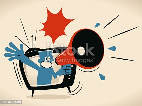 istock Blue man from TV screen shouting with megaphone 1023777938