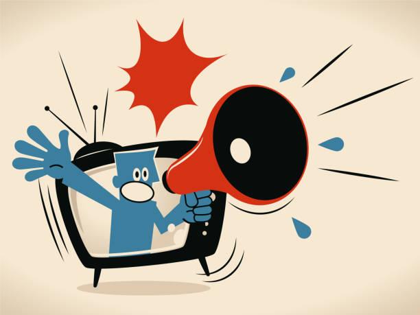 stockillustraties, clipart, cartoons en iconen met blauwe man uit tv-scherm schreeuwen met megafoon - journaal presentator