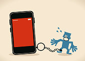 Blue Little Guy Characters Vector art illustration.Copy Space. Blue man is locked in a big smart phone (mobile phone) with chain.
