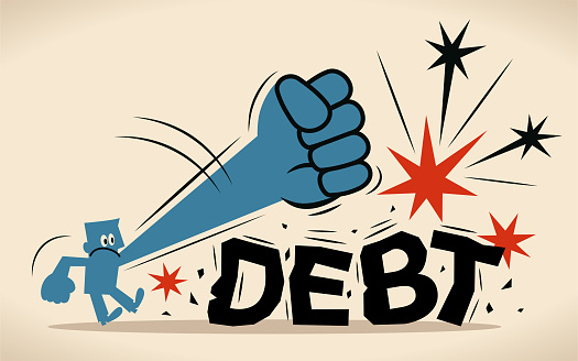 Blue man is trying to crush and smash the heavy debt burden; Breaking the debt cycle