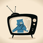 Blue Little Guy Characters Vector art illustration.Copy Space. Blue man on TV screen Man covering mouth by two hands.