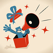 Blue Little Guy Characters Full Length Vector art illustration.Copy Space. Blue man popping out suddenly from a gift box and speaking through a megaphone.