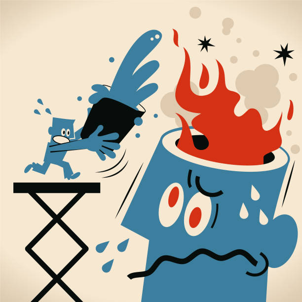 Blue man pouring bucket of water to put out fire from angry man vector art illustration
