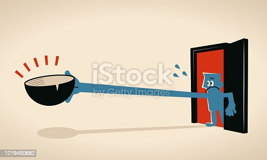 Blue Characters Vector Art Illustration. Blue man through a doorway holds an empty bowl and stretches his arm to beg for help, coronavirus (COVID-19) has broken the supply chains, company closed and business shut down and worker being fired, causing widespread famine.