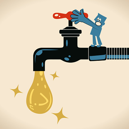 Blue man turning on or turning off the tap (faucet) to solve the water leak (water droplet of United Arab Emirates Currency sign)
