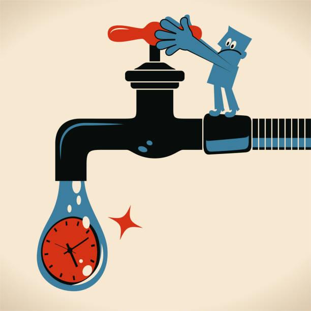blauer mann ein- oder ausschalten den wasserhahn mit einem tropfen zeituhr - fallrohr stock-grafiken, -clipart, -cartoons und -symbole