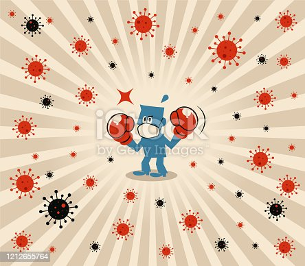 Blue Little Guy Characters Vector Art Illustration. Blue man wears medical face mask and boxing gloves to fight against novel coronavirus (flu, bacterium, virus, air pollution).