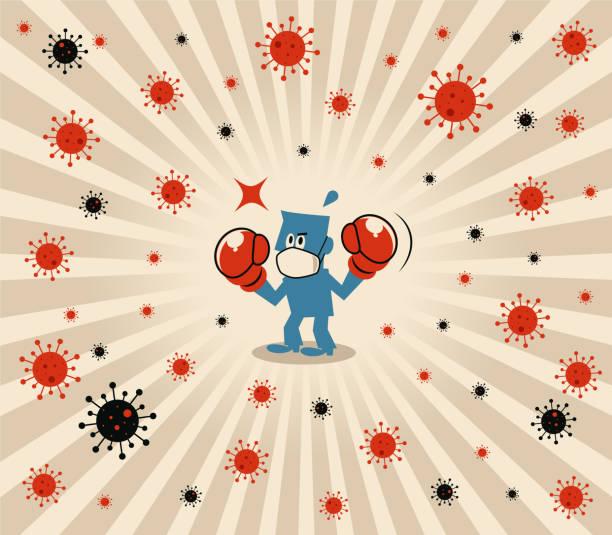 Blue man wears medical face mask and boxing gloves to fight against novel coronavirus (flu, bacterium, virus, air pollution) vector art illustration