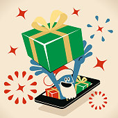 Blue Little Guy Characters Full Length Vector art illustration.Copy Space. Blue man with santa hat and beard  from a mobile phone carrying a huge gift box on head.