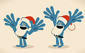 Blue man with santa hat and beard gesturing number 10 hand sign (Japanese banzai)