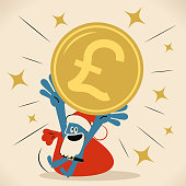 Business Characters Vector Art Illustration. Blue man with santa hat and beard is showing a huge British Pound currency.