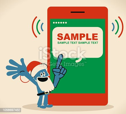 Blue Little Guy Characters Full Length Vector art illustration.Copy Space. Blue man with santa hat and beard pointing at a mobile phone screen.
