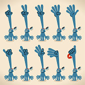 Blue Cartoon Characters Design Vector Art Illustration.\nBlue man's head opening and a hand stretching out counting on his fingers (numbers 1-10) in British Sign Language.