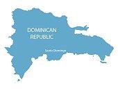 blue map od Dominican Republic