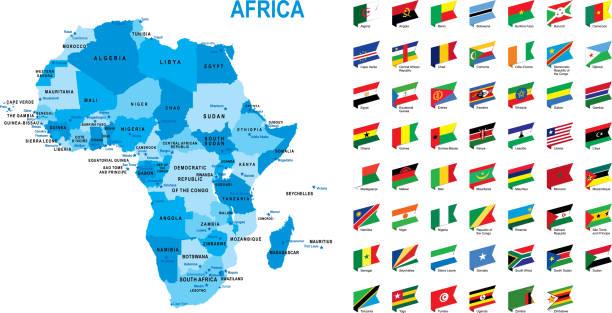 blaue karte von afrika mit flagge vor weißem hintergrund - kamerun stock-grafiken, -clipart, -cartoons und -symbole