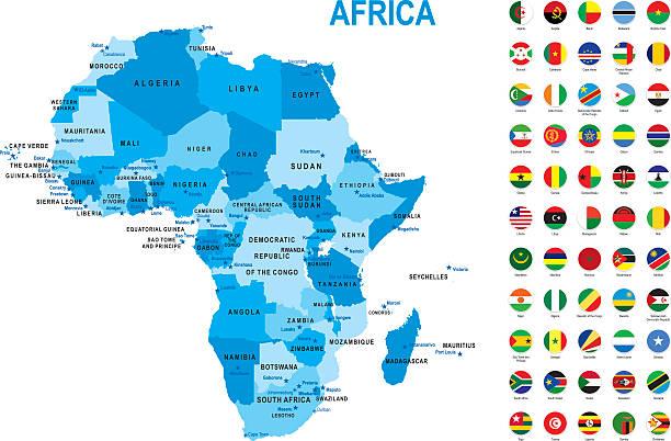 Blue map of Africa with flag against white background - ilustração de arte em vetor