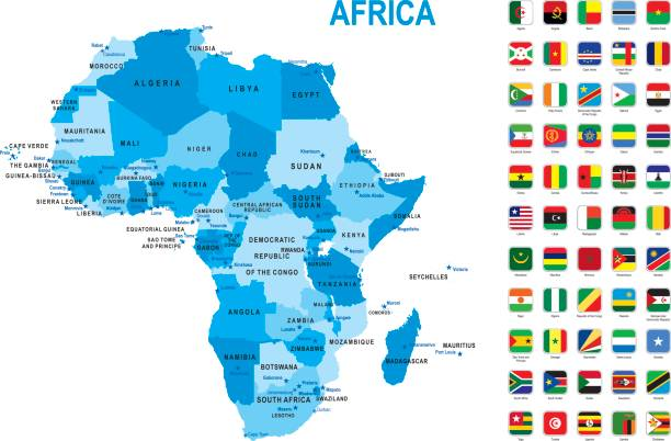blue map of africa with flag against white background - senegal stock illustrations
