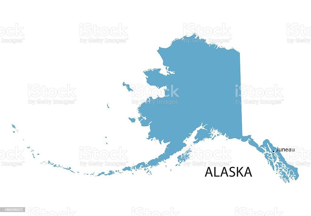 blue map of Alaska vector art illustration