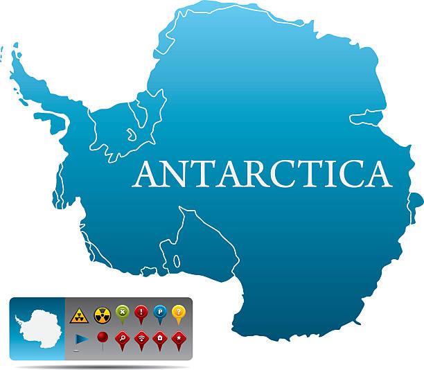 Antarktis-Karte mit navigation Symbole – Vektorgrafik