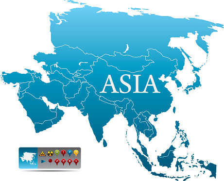 Blue map of Asia with colorful navigation icons on white