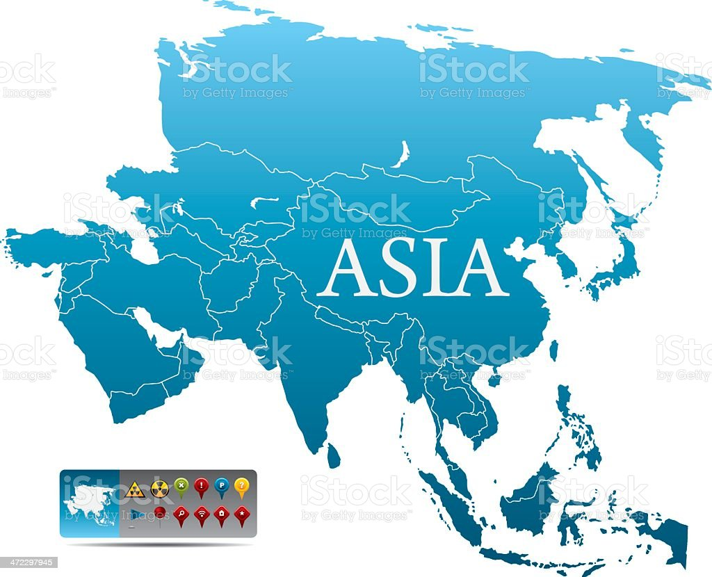 Blue map of Asia with colorful navigation icons on white vector art illustration