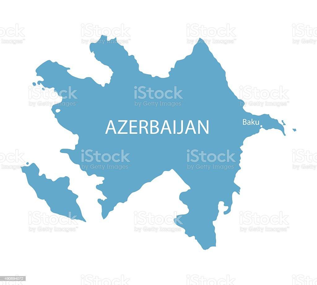 blue map of Azerbaijan vector art illustration
