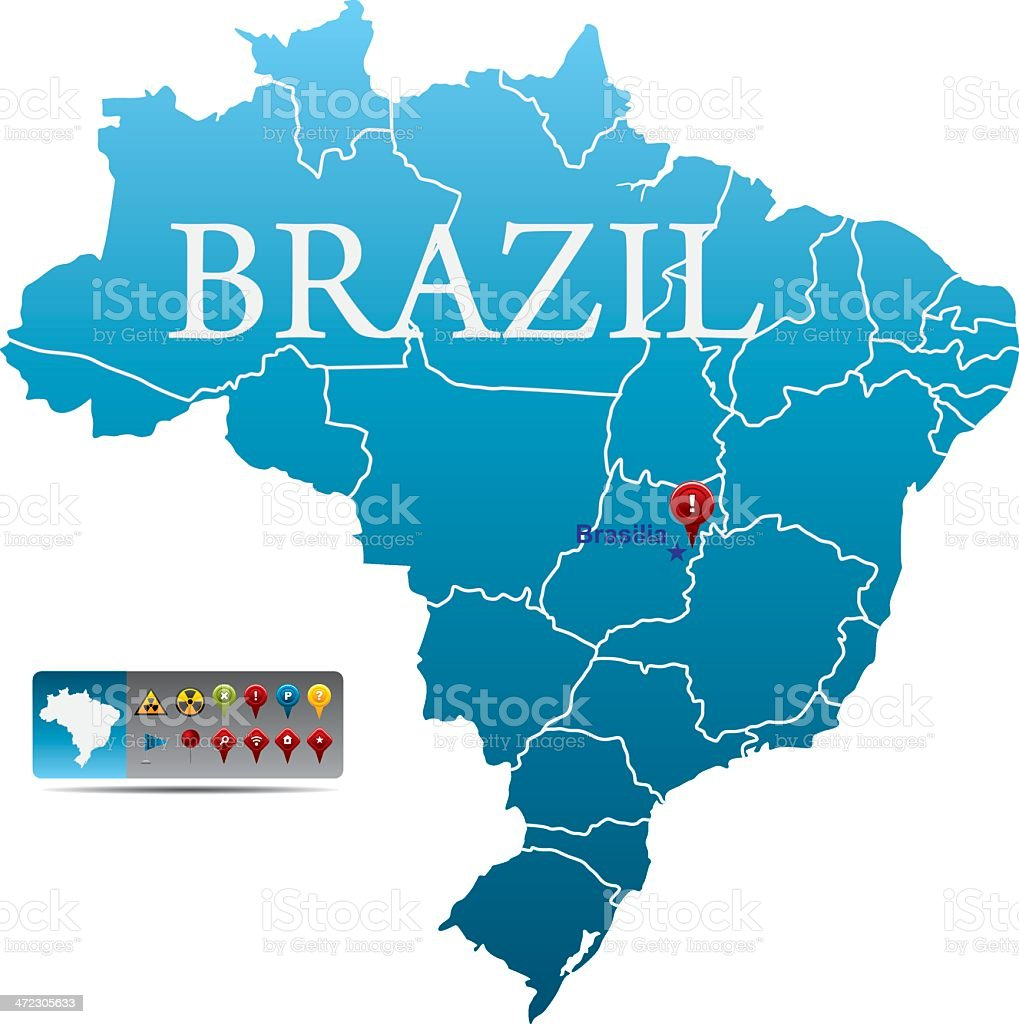 Blue map of Brazil with Brasilia marked with a location pin vector art illustration