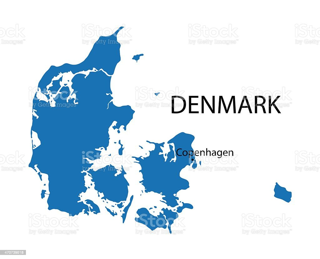 blue map of Denmark with indication of Copenhagen vector art illustration