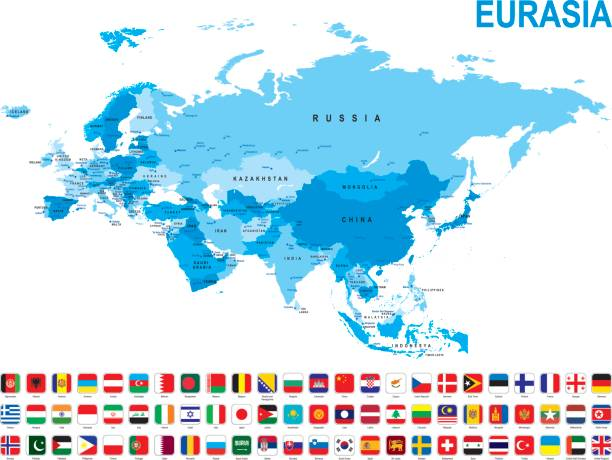 Blue map of Eurasia with flag against white background Blue map of Eurasia with flag against white background. The url of the reference to political map is: http://www.lib.utexas.edu/maps/world_maps/united_states_foreign_service_posts-september_2011.pdf eurasia stock illustrations