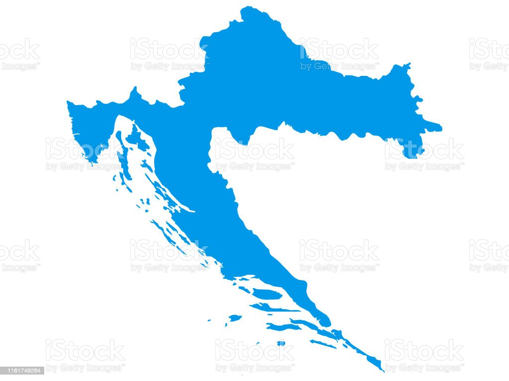 Picture of: Blue Map Of European Country Of Croatia Stock Illustration Download Image Now Istock