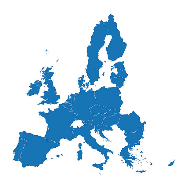 blue map of European Union vector map of 28 European Union countries european culture stock illustrations