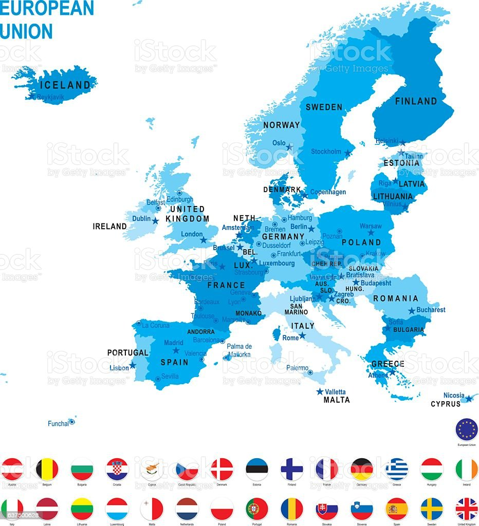 Blue map of European Union with flag against white background vector art illustration