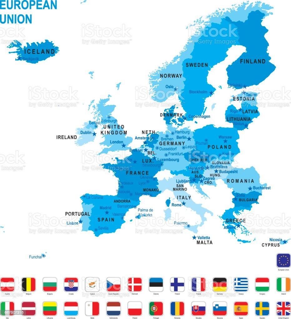 Karte Eu.Blaue Karte Eu Mit Flagge Vor Weißem Hintergrund Stock Vektor Art