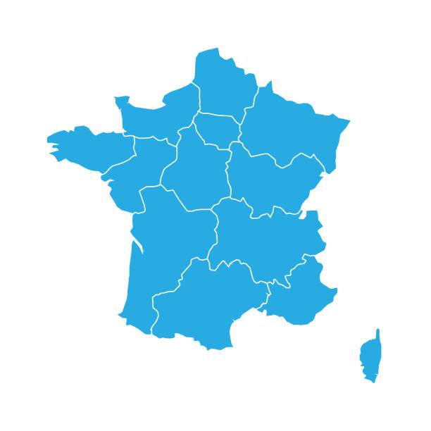 niebieska mapa francji podzielona na 13 administracyjnych regionów metropolitalnych, od 2016 roku. ilustracja wektorowa - francja stock illustrations