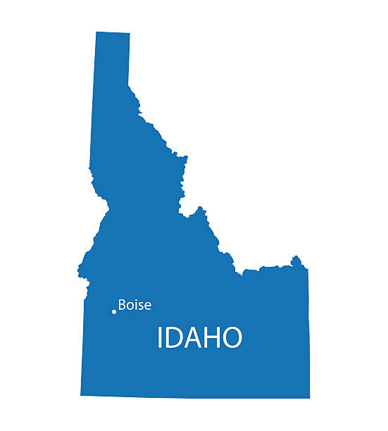 Blue map of Idaho with indication of Boise vector art illustration