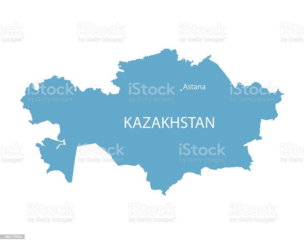 blue map of Kazakhstan