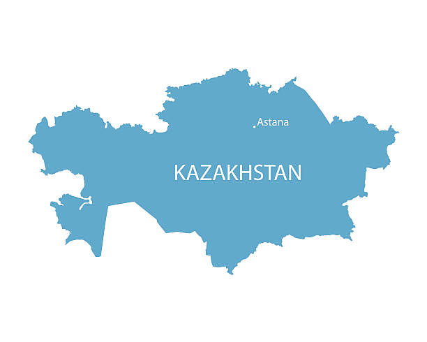 blue map of Kazakhstan blue vector map of Kazakhstan with indication of Astana kazakhstan stock illustrations