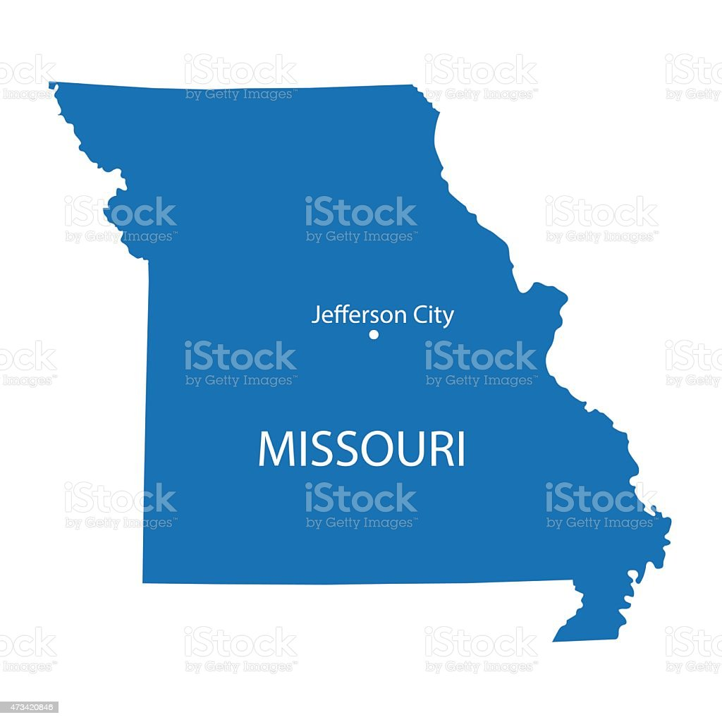 blue map of Missouri vector art illustration