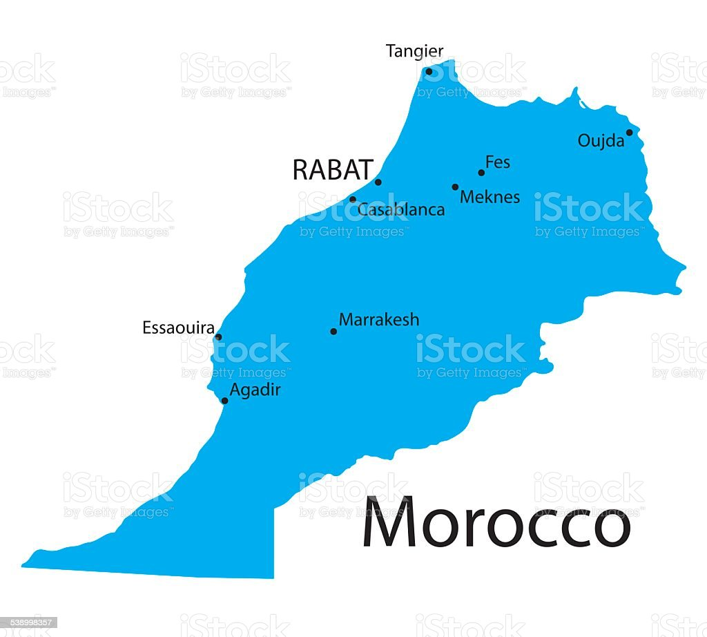 Blue Map Of Morocco With Indication Of Biggest Cities Stock Vector ...