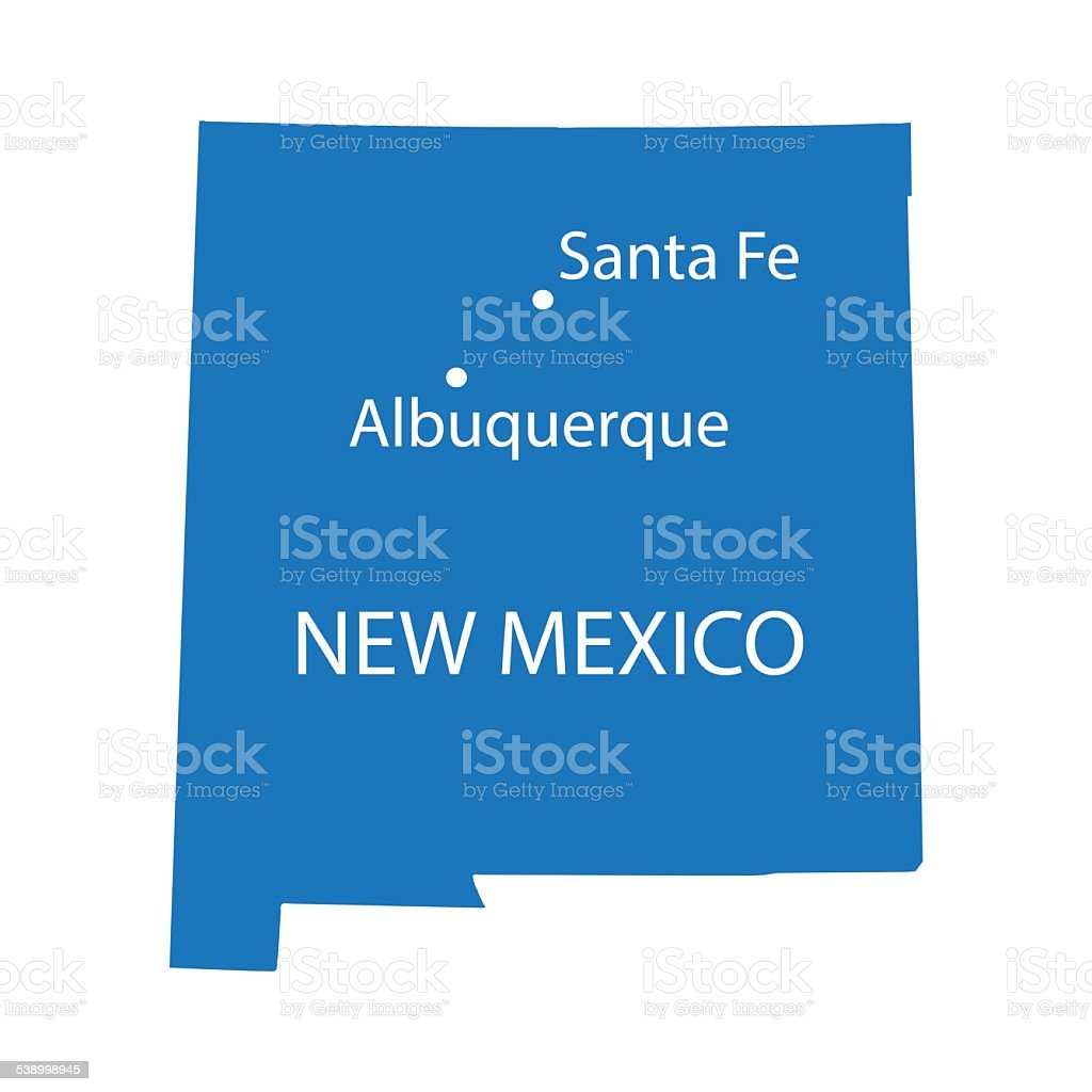blue map of New Mexico vector art illustration