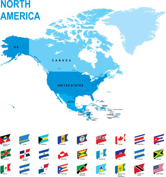 Blue map of North America with flag against white background Blue map of North America with flag against white background. The url of the reference to political map is: http://www.lib.utexas.edu/maps/world_maps/united_states_foreign_service_posts-september_2011.pdf greenland stock illustrations