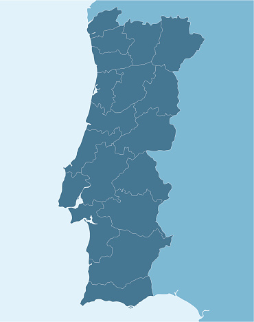 Blue map of Portugal with various sections