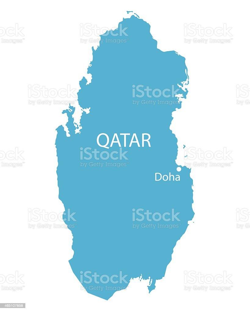 blue map de Qatar - ilustración de arte vectorial