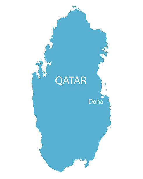 ilustraciones, imágenes clip art, dibujos animados e iconos de stock de blue map de qatar - mapa de oriente medio