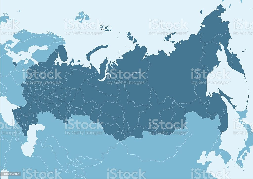 Blue map of Russia with white border lines vector art illustration