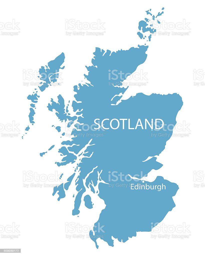 blue map of Scotland vector art illustration
