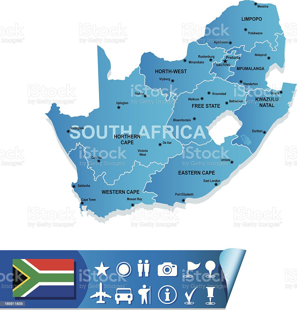 Blue map of south Africa divided by region  vector art illustration