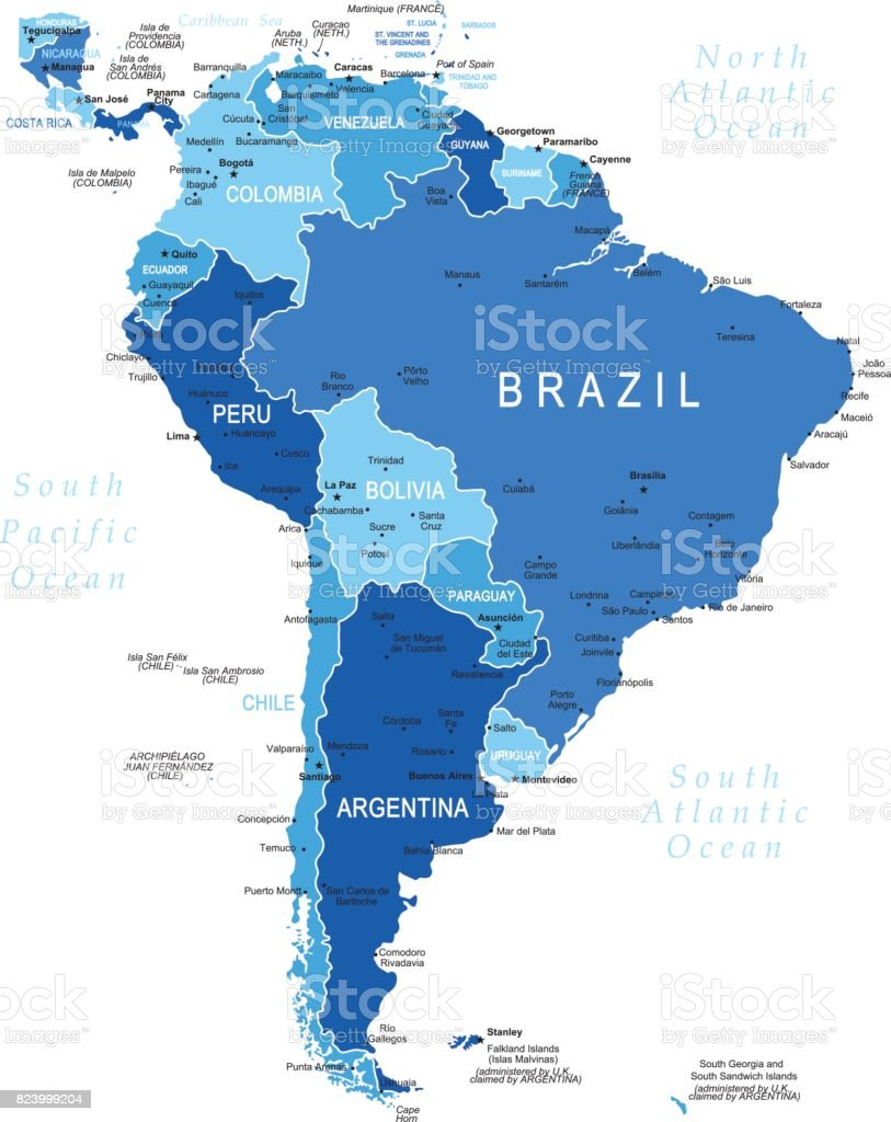 Blue Map of South America vector art illustration